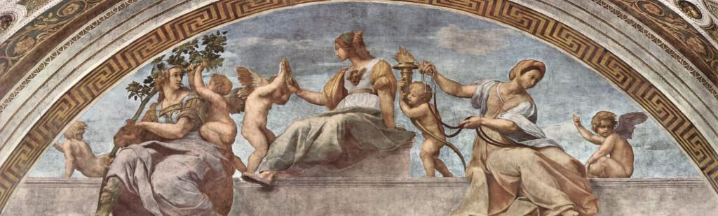 Allegoria delle virtù di Raffaello Sanzio (1511); Stanza della Segnatura, Città del Vaticano (Wikimedia Commons)